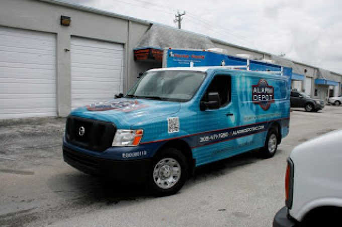 Nissan NV 1500 2500 3500 Vinyl Van Wraps Advertising for Miami Florida – Alarm Company Car Wrap