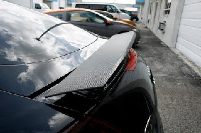 Audi TT Carbon Fiber Rear Spoiler 3M Vinyl Wrap Miami Florida