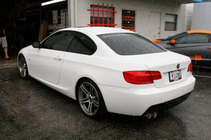 BMW 3M Scotchprint Vinyl Carbon Fiber Wrapped Mirrors & Rear Lower Bumper Valence Miami Florida