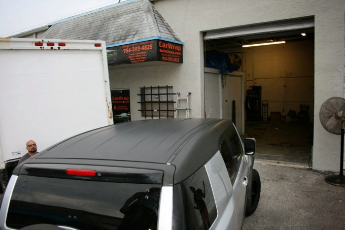 Fort Lauderdale Toyota FJ Cruiser Matte Black Vinyl Wrapped Roof Wrap