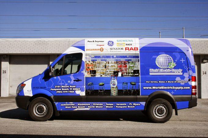 Pompano Beach Freightliner Sprinter Van 3M Vinyl Vehicle Wrap Advertising   World Electric Supply
