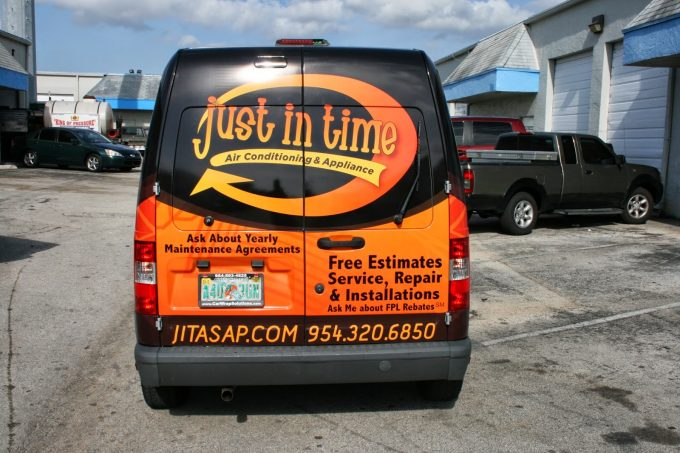 Ford Transit Connect 3M Vinyl Vehicle Wrap Advertising Sunrise Florida | Just In Time Air Conditioning