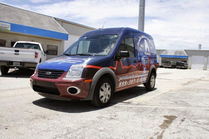 West Palm Beach Florida Ford Transit Connect Vinyl Van Wrap Advertising   Portable Medical Diagnostics