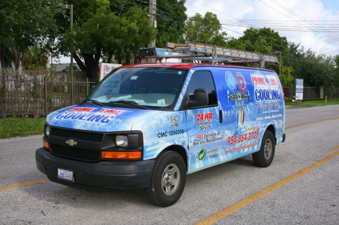 HVAC Air Condition Commercial Cargo Van Vinyl Car Wrap Davie Florida | Prime Time Cooling