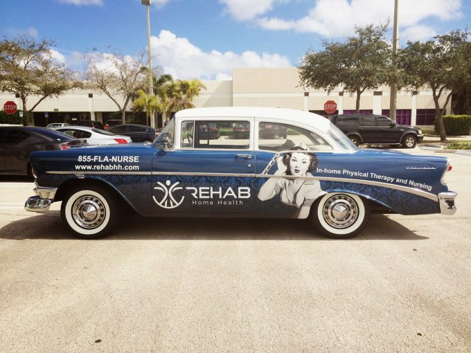Classic Chevrolet Car Wrap Advertising Boynton Beach Florida for Rehab Home Health by Car Wrap Solutions