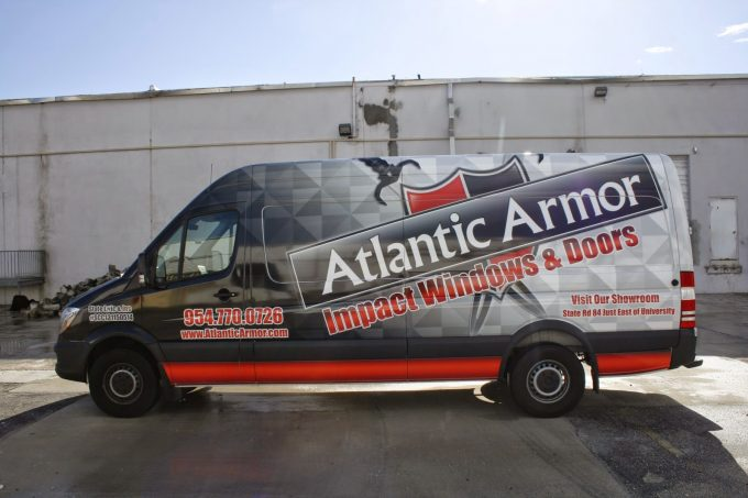 Davie Florida Sprinter Cargo Van Vinyl Wrap Advertising Graphic Design Layout, Printing & 3M Preferred Certified Installation | Atlantic Windows & Doors