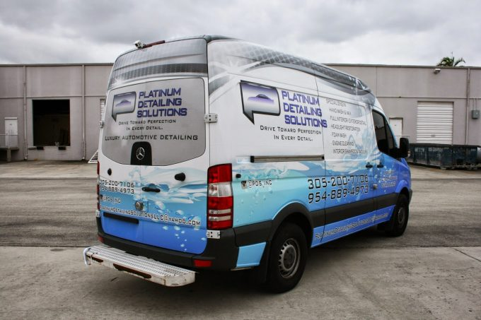 Mercedes Benz Sprinter Van Commerical Car Wrap for Sunrise Florida Detailing Company Platinum Detailing Solutions