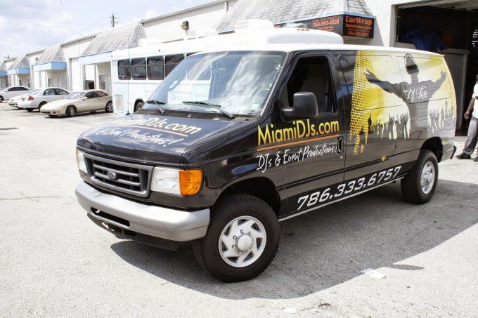 Ford Commercial Van Vinyl Wrap South Beach Miami Florida | Miami DJs Vehicle Wrap
