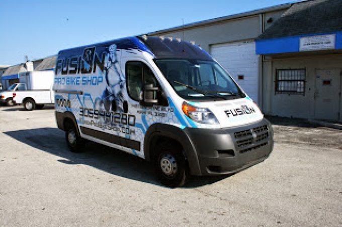 Dodge Promaster Vinyl Wrapped Cargo Van Miami Florida | Fusion Pro Bike Store