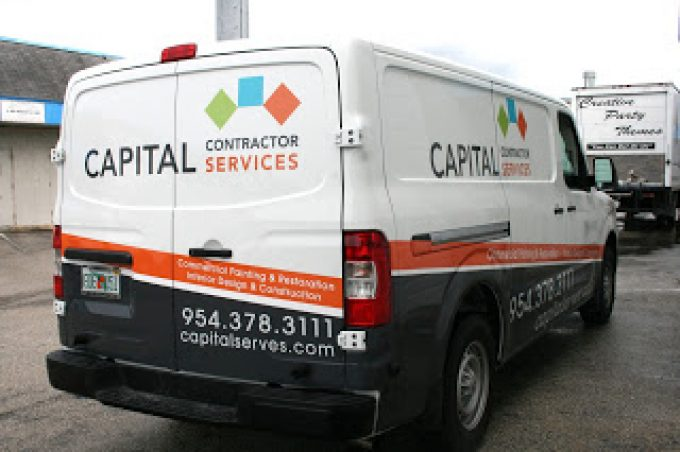 Commercial Nissan NV Van Graphics & Lettering Miami Florida | Capital Contractor Services