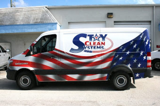 Weston Florida Ford Transit Van Wrap Graphics In Custom American Theme | Stay Clean Systems