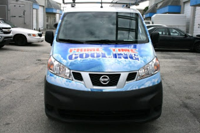 Air Conditioning Car Wrap | New Nissan NV200 in Davie Florida for Prime Time Cooling