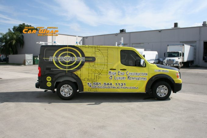 New Nissan NV Van Vehicle Wrap Boca Raton Florida for AFG Construction by Car Wrap Solutions