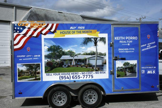 Trailer Vinyl Wrap Small Business Marketing Davie Florida | Car Wrap Solutions