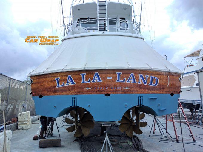 Hatteras Custom Transom Vinyl Wrap Dania Beach, Florida | Car Wrap Solutions