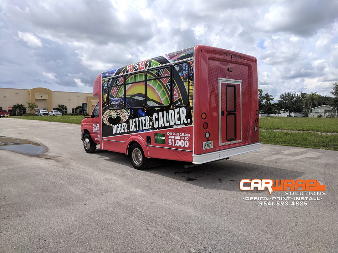Shuttle Bus Wrap Advertising Miami Florida for Miami Florida's Calder Casino