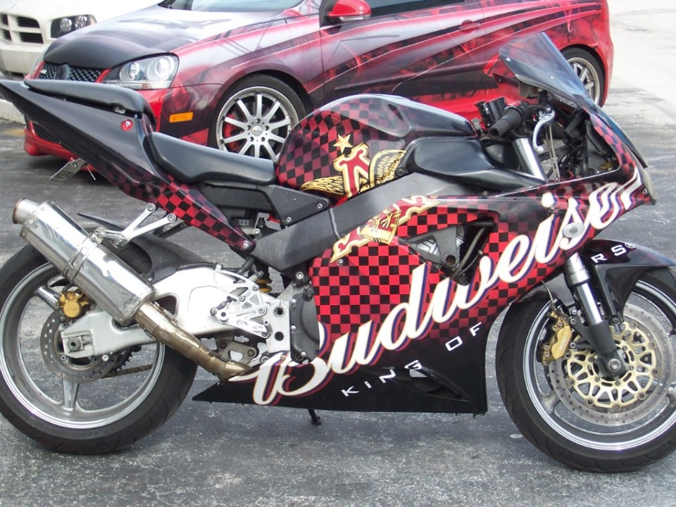 Custom Motorcycle Vinyl Wrap Designed Printed