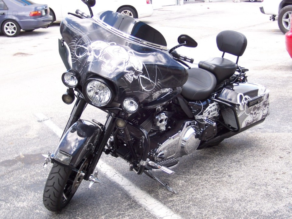 Motorcycle vinyl wrap for harley davidson designed printed installed by car wrap solutions in fort lauderdale florida