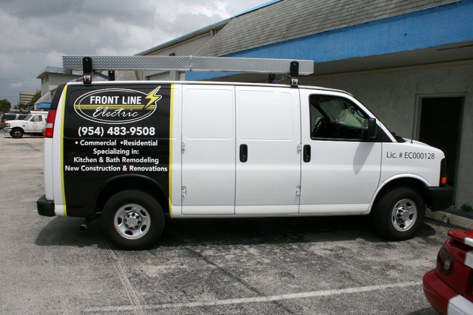 Front Line Electric Van Wrap Davie Florida