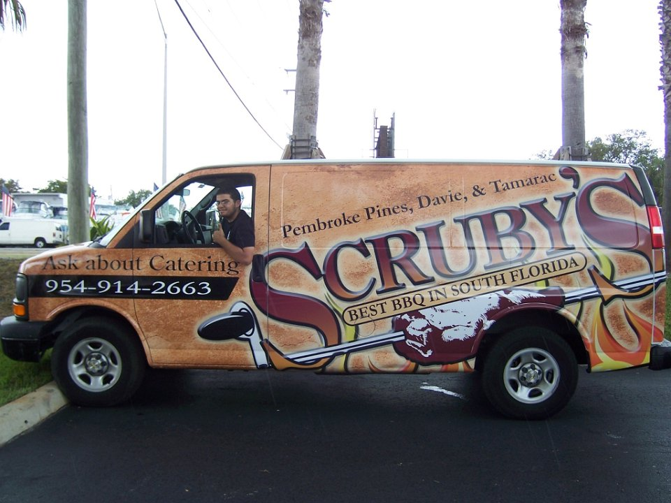 Vinyl Vehicle Wrap Van Scrubys Bbq Davie Florida