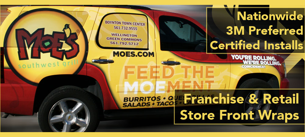 Moes Southwest Grill franchise vehicle car wrap advertising Boca Raton, West Palm Beach, Fort Lauderdale, Florida