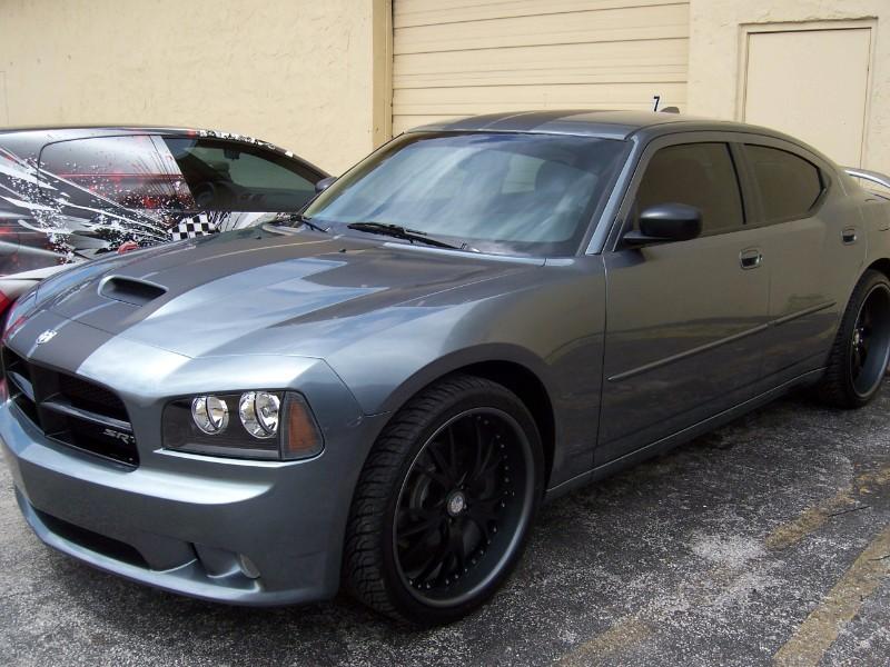 Dodge Charger Matte Black Racing Stipe Car Wrap