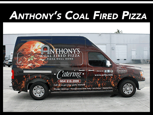 Nissan NV Cargo Van WWrap Advertising for Anthony's Coal Fired Pizza Restaurant Fort Lauderdale Florida