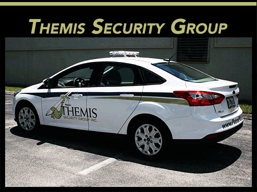 Fort Lauderdale Florida security vehicle vinyl stripes & lettering