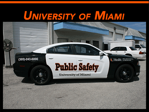 Miami security car vinyl graphics & lettering