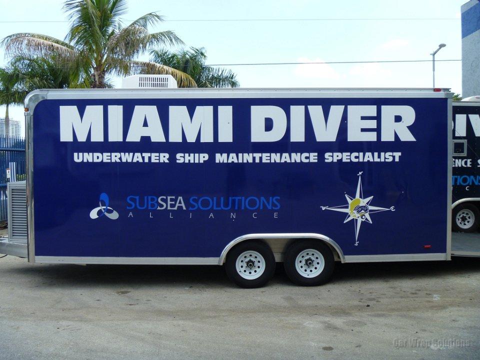 Miami Diver Custom Trailer Wrap Advertisement - Custom vinyl decals miami