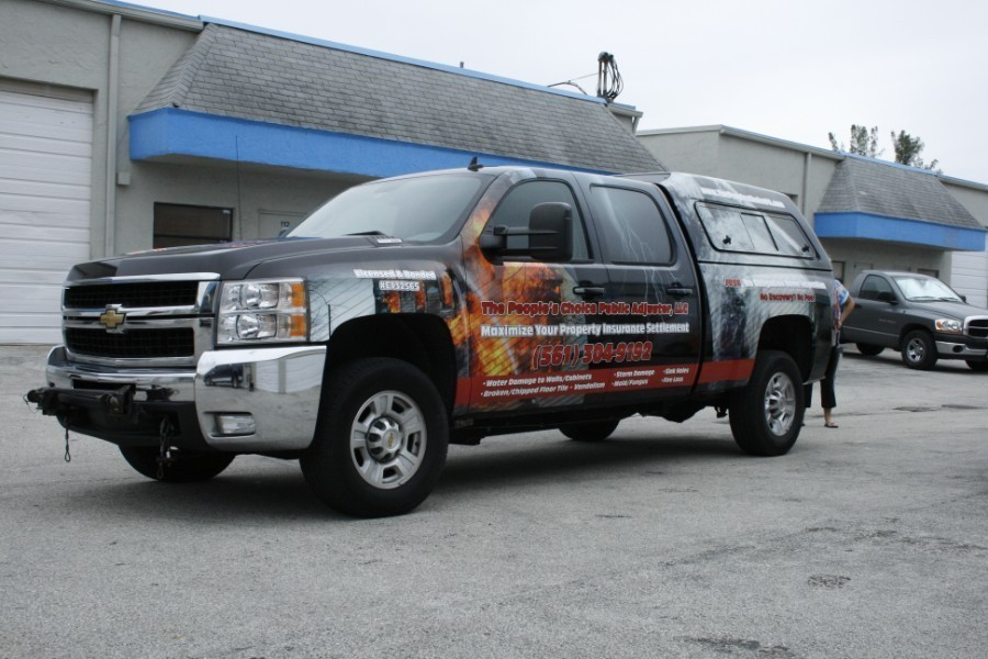 Chevy truck vehicle wrap, Peoples Choice Public Adjuster ...