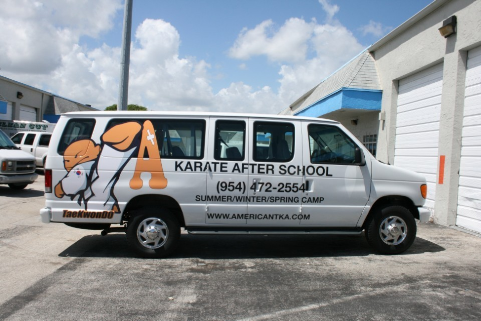 karate van lettering and graphics tka martial arts davie florida car wrap solutions fort lauderdale
